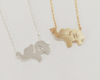 Elephant necklace, Personalized necklace, initial necklace,Personalized Jewelry,friendship necklace,handstamp initial,christmas gift, animal