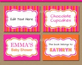 EDITABLE Hot Pink and Orange Printable Candy Buffet Labels - DIY Food Labels - Tent Cards - INSTANT Download - Personalize in Adobe Reader