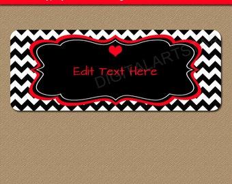 Red & Black Chevron Return Address Labels - Printable Valentine Address Labels - Cute Valentine Address Label Template Download RBCV