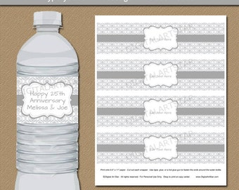 Silver Anniversary Party Decorations - Silver Water Labels - Damask Water Bottle Labels - Silver Wedding Bottle Labels Printable Party Favor