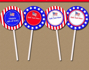 4th of July Cupcake Toppers - Printable July 4th Cupcake Toppers - July 4th Birthday Party Decorations - Patriotic Baby Shower Ideas