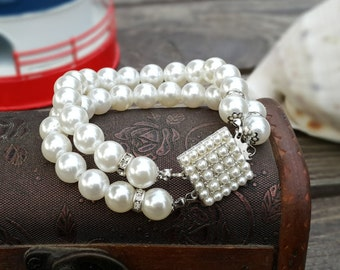 Wedding Ivory Pearl Bracelets, Bridal Jewelry with Pearl Clasp