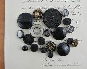 Lot of Vintage Black Glass Buttons with Gold or Silver Accents 20 Buttons