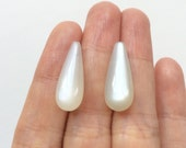 AA Grade Silvery White Moonstone Half Drilled Long Teardrops 8x20 mm One Pair Perfect for earrings K5601 K7080