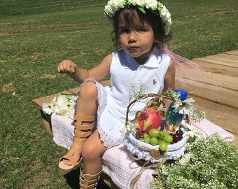 Rustic Flower Girl Basket - Country White and Lace - Personalized For Your Wedding Day