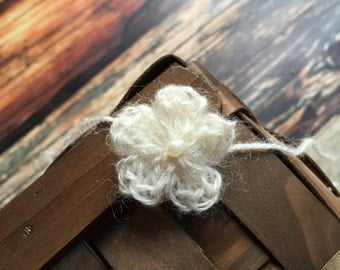Ivory Mohair Flower Tieback with Pearl Button, Newborn Headband Tieback, Simple and Delicate Headband Tieback, Newborn Mohair Headband RTS