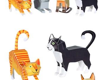 Cats Paper Toys - DIY Paper Craft Kit - 3D Paper Animals - 4 Pets - Kids Cats