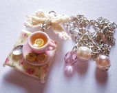 Breakfast in Paris - French collection - Romantic lemon tea cup on a little square table - handmade miniature food jewelry