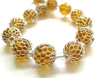 Amber Honey Glass Beads, 10mm Round Beads, Silver Mesh Cage Beads - 14 Pieces