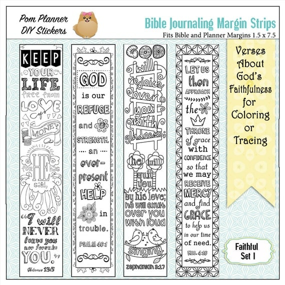 Bible coloring margin strips for wide margin Bibles and planners. #biblejournaling #happy planner