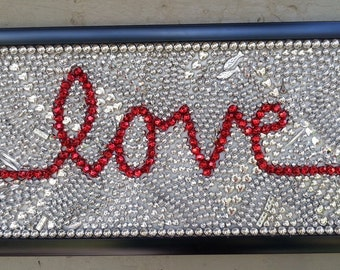 Mardi Gras, beads, mosaic, art, love, wedding, Valentine's Day, gift, silver, red,  mixed media, painting, word art, New Orleans, wall art
