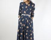 Navy vintage shirtwaist dress, Floral Long sleeve Cotton dress, XS 3610