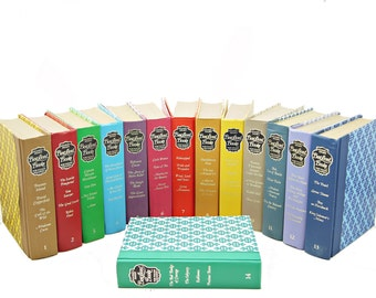 COlorful  Book Collection, Complete BEST LOVED BOOKS Decorative Books, Old Book Set, Book Collection, Green BLue Purple Red Book Decor Stack