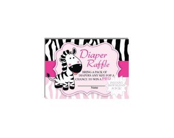 Zebra Diaper Raffle Tickets-Safari Diaper Raffle Tickets-Black & Pink-INSTANT DOWNLOAD