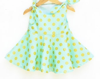 Golden Glitter Polka Dots Green Dress - Michael Miller - Comtemporary Style - Spring Outfit - Baby Wearing - Baby Cotton - Custom Made USA