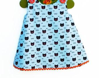 Black Orange Cat with Glasses Aline - Baby Dress - Nursery - Handmade Girls Dress  - Cat Theme - Little Girls Dress Pattern - 3M to 4T