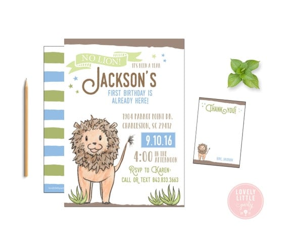 Lion Birthday Invitation Kit, Lion Theme Invite and Thank You Card DIY Printable  or Printed - Lovely Little Party