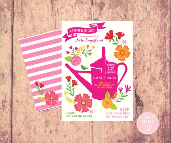 Garden Party themed Bridal Shower Invitation, floral bridal shower, bright flowers garden invite, Wedding Shower - Lovely Little Party