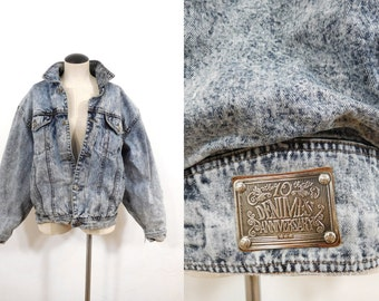 Vintage 90s Acid Washed Blue Denim Cotton Lined Heavier-Weight DENIMES Lady Jean Jacket // Womens Medium to Large