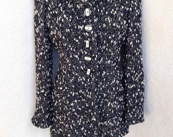 Vintage New Wave jacket chunky weave knit lined black white long sz M