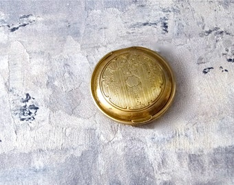 Art Deco Pocket Mirror Inscribed Patent 1924 - Small Gold Toned Compact Flapper Era Vanity Accessories