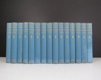 "John Burroughs Book Set // Antique Early 1900's ""Works of John Burroughs"" Partial Collection 15 Blue Volumes Naturalist Library Decor Gift"