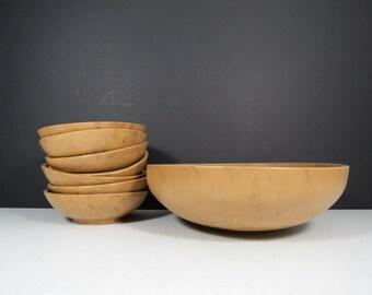 Faux Wood Salad Bowl Set // Vintage Regaline Plastic Marbleized Tan Serving Bowl and Seven Small Bowls Snack Salad Serving Set Retro Kitschy