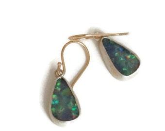 Australian Opal Earrings, Boulder Opal Dangle Earrings, Blue Green Gemstone Drops, Free Form  Opal Doublets  Artisan Handmade by Sheri Beryl