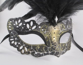 Masquerade Mask Women Black Costume Mask with Feathers Mardi Gras Halloween