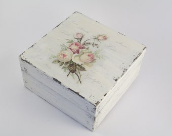 Shabby Chic Box Roses Small Jewellery Box Valentine's Day PERSONALIZED First Haicut Decorative Box Maid Of Honor Gift