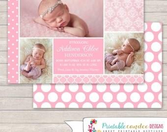 Pink Baby Girl Birth Announcement - DIY Custom Printable