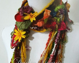 Long Autumn Leaf Scarf, Flower Garland, Fiber Art Scarf, Eclectic Fashion, Funky Fringe Scarf, Boho Eco Fashion, Woodland Cottage Wedding