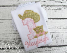 Birthday Shirt. Cowgirl Personalized Embroidered Appliquéd Shirt. Pink and Gold Country, Western, Cowgirl Birthday Shirt. Cowgirl Hat, Boots