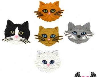 Jesse James Buttons 5 Fuzzy Felines Cat Buttons OR Turn them Into Flatback Decoden Cabochons