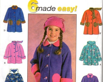 Easy Girls Hooded Jacket Pattern - Size 5, 6, 6x - Simplicity 7822 uncut