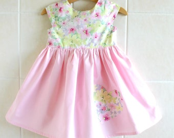 Pink Yellow Floral Dress - girls dress, girls summer dress, pink dress, party dress, tea party dress