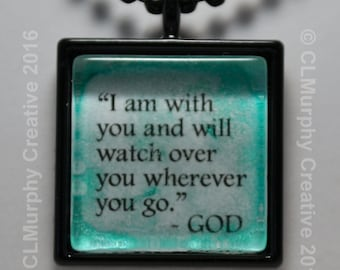 Custom Scripture Necklace One of a Kind Pendant God Watches Over Me Necklace C L Murphy Creative