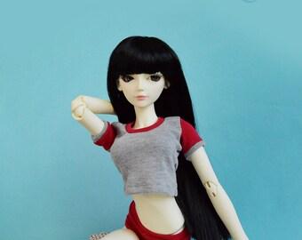 Anime inspired gym uniform for SD bjd, 60cm bjd, feeple60 bjd, minifee, MSD BJD, resinsoul bjd, 60cm obitsu, 45cm bjd