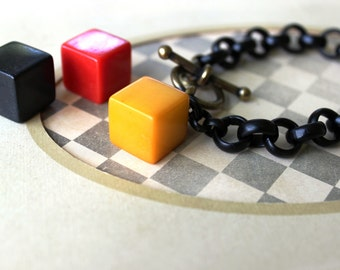 SUPER Chunky Chain Bracelet Black with Bakelite Cube Butterscotch Red Black Bakelite Jewelry, Toggle Bracelet, veryDonna Sutor