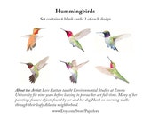 Hummingbirds Blank Note Cards Set of 6 by Lore Ruttan