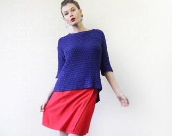 Vintage bright lipstick red simple wrap summer mini skirt S-M