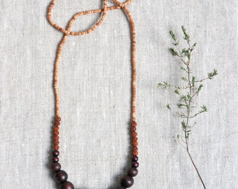 RUDRAJ Natural Wood Bead Necklace