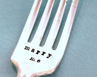 Hand Stamped Dinner Fork Silverware - MARRY ME - Burgandy aka CHAMPAIGNE 1934 - Ready To Ship - Wedding Fork