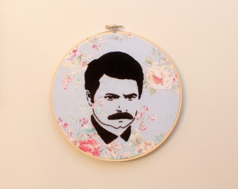 "8"" Ron Swanson Embroidery Hoop Art"