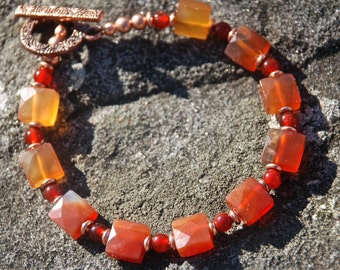 Carnelian and Copper Bracelet,  Faceted Carnelian Squares, Carnelian rounds, Copper, OOAK, Gifts for Women