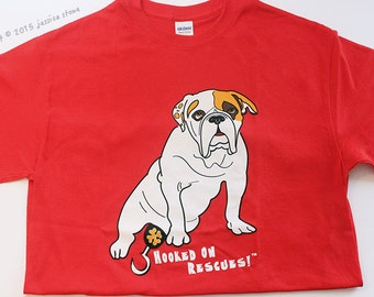 xl HOOKED ON RESCUES Shirt, Red Unisex Shirt, Amputee, Special Needs Bulldog, Dog Rescue, Ogden, Piper The Painting Bulldog