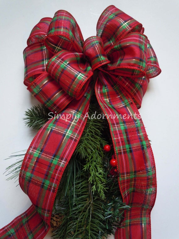 Red Green Country Plaid Wreath Bow Tartan Woodland Christmas Bow Country Tartan Christmas Swag Bow Red Scotch Plaid Bow Holidays Plaid Bow