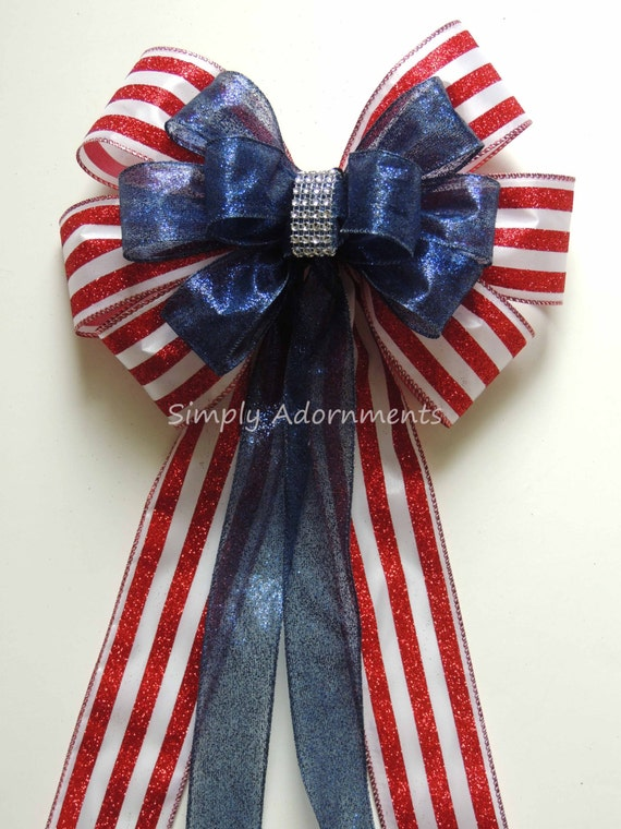 Red white Blue Wreath Bow July 4th Bow Patriotic Wedding Pew Bow Red Navy White Wedding Bow July 4th Wreath 4th of July Wedding Aisle Bows