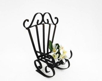 Small Wrought Iron Chair - Black Plant Stand - Doll's Iron Chair - Child's Toy Chair - Black Metal - Bent Wrought Iron