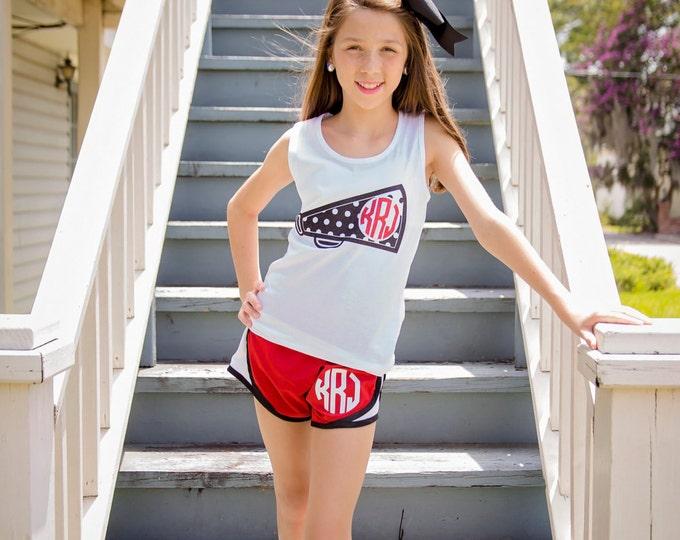 Monogram Tank Top, Cheer Tank Top, Cheerleader tank top, Monogrammed Tank top for Cheerleaders, Girl's and Women's Sizes
